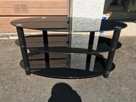 Tv unit black glass table