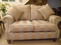 3 PIECE SUITE/SOFA BARKER AND STONEHOUSE SUPERB CONDITION DUCK EGG BLUE/GOLD