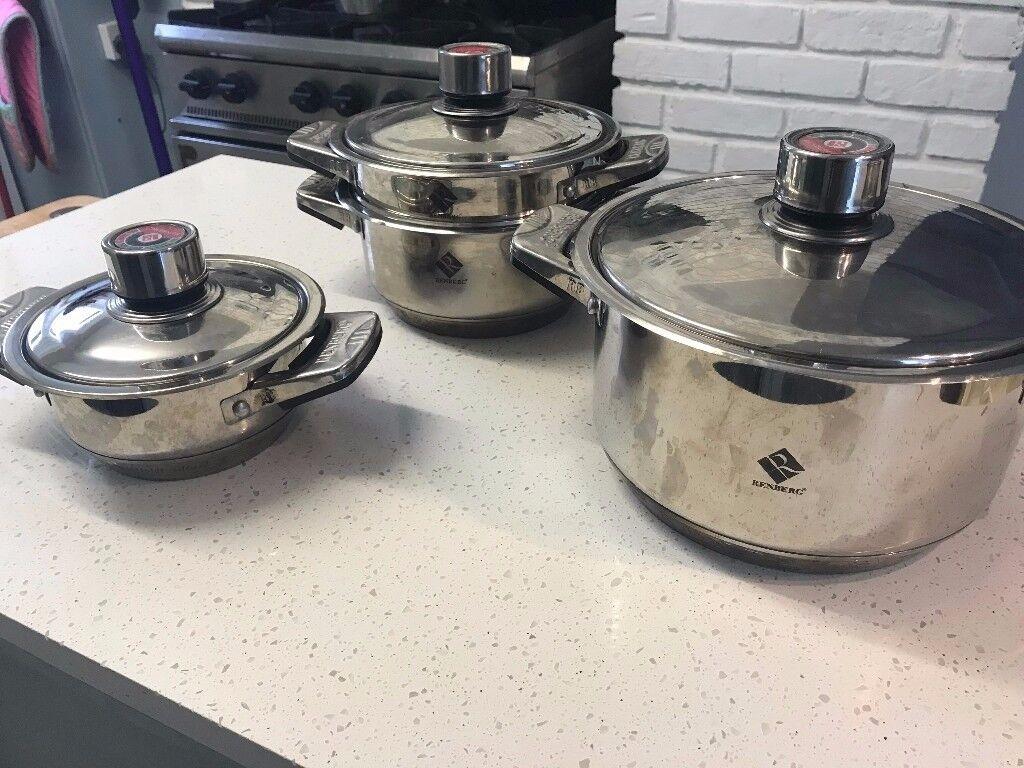 Set of 3 Renberg Saucepans with Steamer