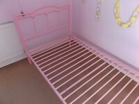 Pink Love heart metal bed frame, Single, Used.