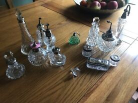 Antique and vintage perfume bottle collection silver