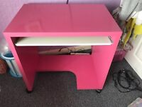 Pink ikea computer desk with pink lamp