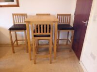 Ikea Solid Oak Bjorkudden Bar / Bistro / Breakfast Table And 4 Faux Leather Stools