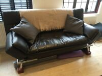 Convertible Black Leather 5 in 1 Futon Sofa Bed Couch