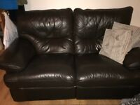 Brown 3 and 2 seater leather reclining sofas
