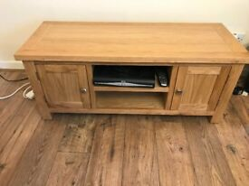 As new solid oak tv unit