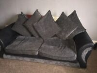 DFS black and charcoal sofa 3+2