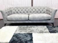 Volante Essex Chesterfield style 3 plus 2 seater grey Nubuck fabric sofa