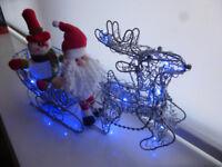 Rattan Reindeer & Sleigh Battery Operated Christmas Window Decorations