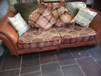 Tetrad Eastwood Leather / Fabric 3 Seater Sofa Chesterfield Cost New £2500