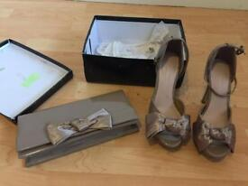 Women's size 3 heels and matching clutch bag