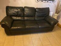3+2+2 black leather suite