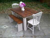 4ft x 3ft SHABBY CHIC FARMHOUSE TABLE 2 CHAIRS 2 benches SOLID heavy TABLE