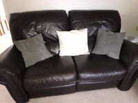 Leather, two seater and three seater reclining sofa