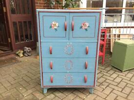 Vintage Linen Press Chest Of Drawers