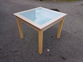 Square Frosted Glass & Solid Wood Dining Table 90cm FREE DELIVERY 129