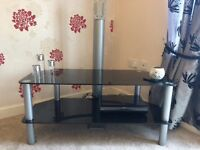 Modern and stylish black glass TV stand for sale