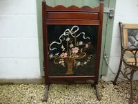 Vintage Mahogany Firescreen With Lovely Detailed Cotton Work Panel