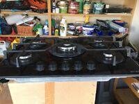 5 Burner Black Glass Hob