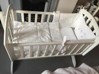 Obaby White Rocking Baby Crib with 2 bedding sets and mattress