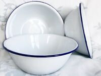 Enamel bowls and plates - brand new, vintage/retro style! Available in a variety of colours.