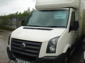 60 REG VW CRAFTER 35 BLUE TDI LUTON WITH TAILL LEFT IN WHITE