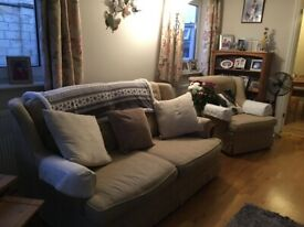 FREE TO A GOOD HOME 2 seater sofa bed and 2 armchairs.