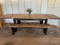 Huge french antix solid oak extending farmhouse dining table and 2 benches 6-9.5ft 280cm seats 12
