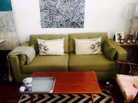 Retro style green DFS sofa
