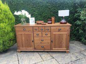 Large pine sideboard wood 9 drawers 2 cupboards SHABBY CHIC