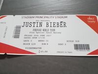 Justin Beiber Tickets for Fri 30 Jun @ Cardiff Principality Stadium, selling at face value £130