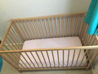 Ikea cot , mattress and bedding