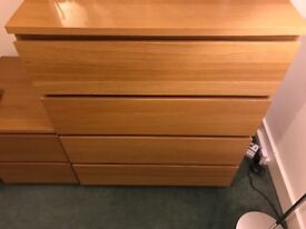 *** NOW SOLD *** MALM Chest of 4 Drawers, Oak Veneer, Excellent Condition