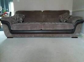 Fabric sofa and storage pouffe