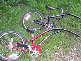 x1 Advent Alleycat Shadow trail-a-bike bicycle x1 Adams Trailer bike