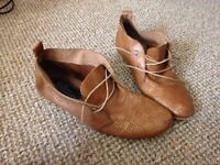 Bertie Size 6 Women's flat leather lace up booties