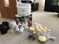 Baby feeding set - bottle steriliser, electric breast pump and extras