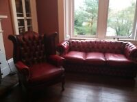 2 piece Chesterfield, 3 seater Sofa and 1 Chair, immaculate condition.