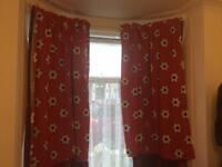 Kids Curtains Football red pattern