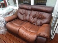2 seater leather recliner sofa £40