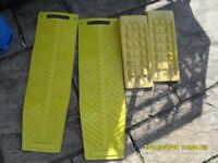 Levelling system and anti-skid plates for camper van