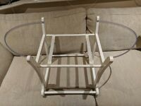White wooden Moses basket stand