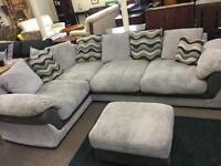 Grey Cord Corner Sofa & Footstool