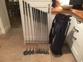 Matching Driver, 3 Wood and 5 Wood, Wilson Irons, putter, golf bag, glove, balls, tees etc
