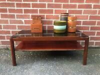 Vintage TEAK Myers Coffee Table Smoked Glass 1960 1970 Mid Century RETRO