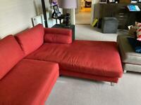 John Lewis corner settee, rusty red, very comfortable