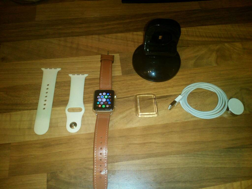 Apple Watch with Extrasin Bournemouth, DorsetGumtree - Apple Watch Series 1, comes with original strap and a leather strap. Original magnetic charging cable and charging stand. Also comes with a clear plastic cover that covers the face and sides of the watch. No longer have an iPhone so no longer needed....