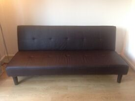 2x Leather look sofa bed