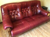 3 piece leather suite, 3 seater sofa and 2 x chairs