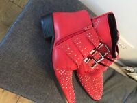 Bebo red ankle boots size 7